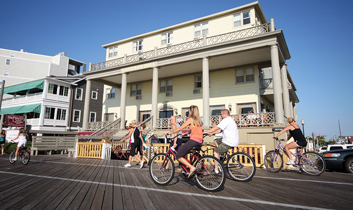Bike on the boardwalk in front of the Harrison Hall Hotel in Ocean City, Maryland.
