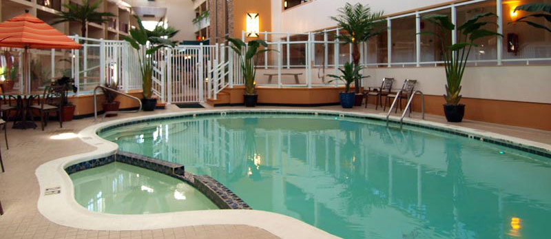 Indoor tropical atrium and indoor pool