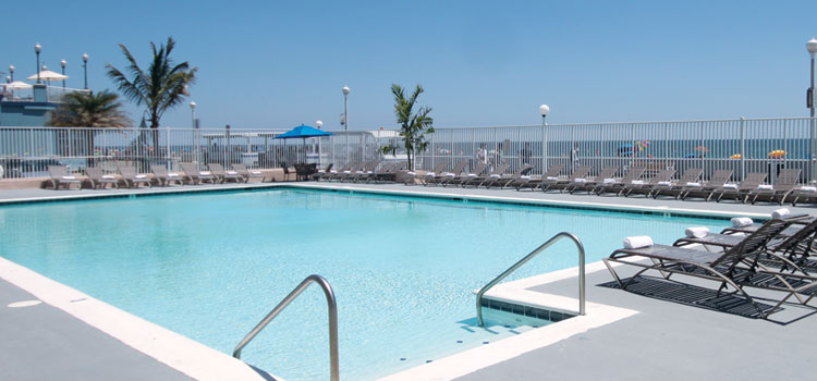 Our outdoor pool is on the Ocean City Boardwalk and beach.