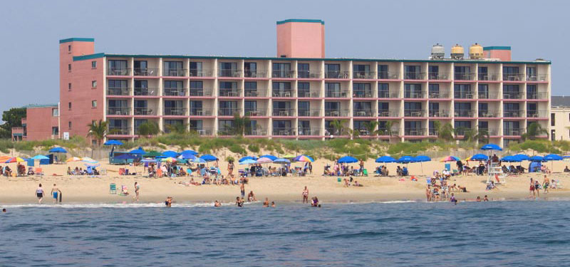 Oceanfront hotel directly on the beach in Ocean City.