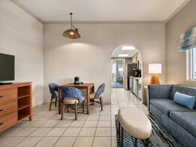 Oceanfront suite living room area