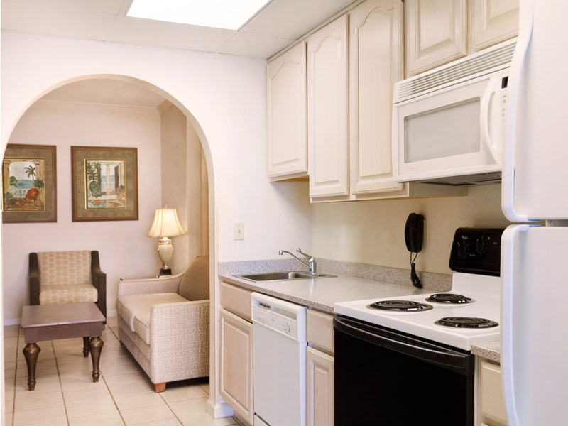 In-suite kitchen with full stove and dishwasher