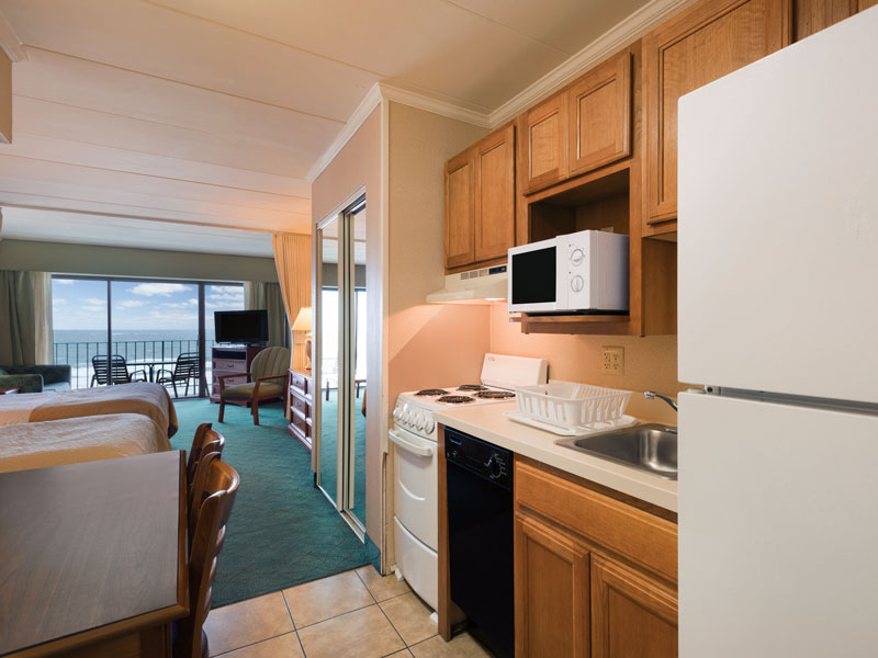 Oceanfront efficiency, two double beds, kitchenette and sweeping direct ocean view