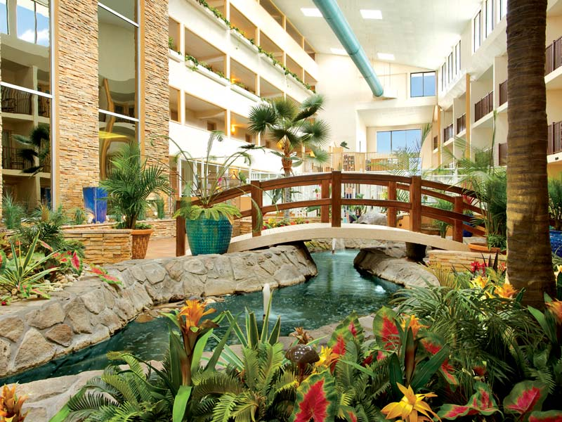 Atrium closeup with bridge plants and river