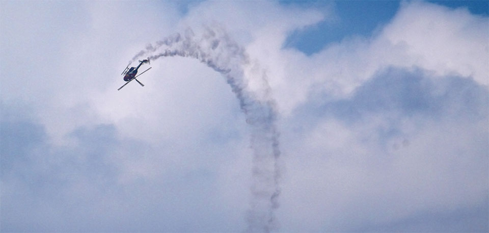 Red Bull Helicopter going inverted during the air show.