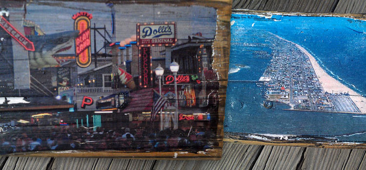Photos on old pieces of boardwalk.
