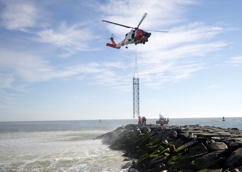 Coast Guard helicopter at the Ocean City Inlet.