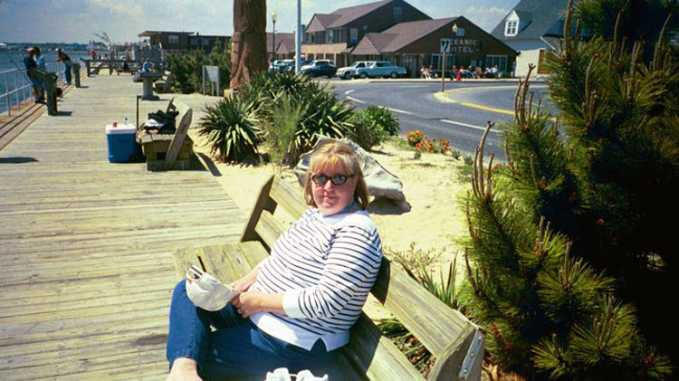 Darlene at the inlet near the Oceanic Motel