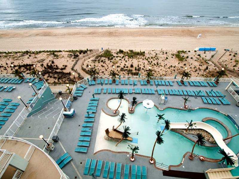 Aerial view of both oceanfront pools