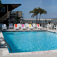 Our pool overlooks the bay and Assateague Island.