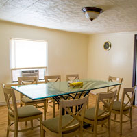 Large dining room in the upstairs apartment.