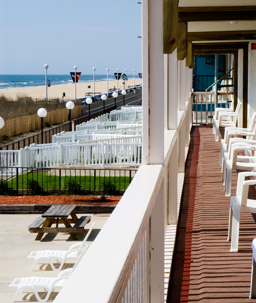 The Oceanfronts rooms have access to a porch that overlooks the ocean.