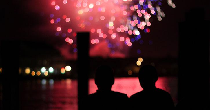 Ocean CIty Fireworks as seen from West Ocean City
