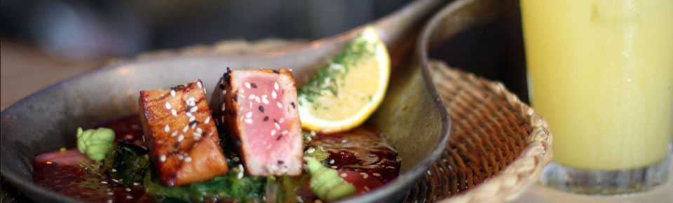 Seared Ahi Tuna appetizer with a sweaty Orange Crush