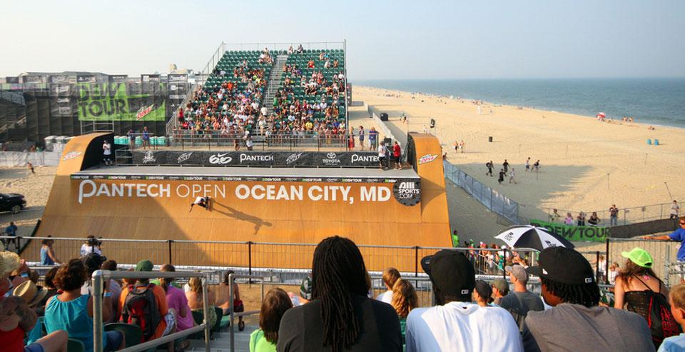 The skate vert in Ocean City Md on the beach.