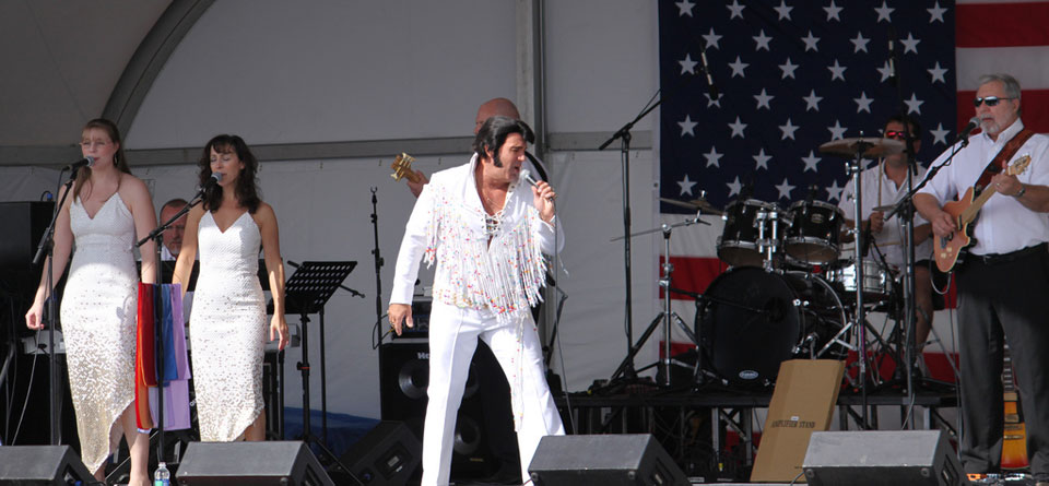 Elvis is in the, uh, tent at Sunfest in Ocean City Md.