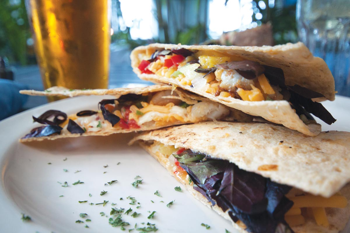 tasty quesadillas at the coral reef cafe